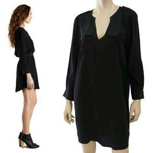Joie black 100% silk v-neck shirt dress
